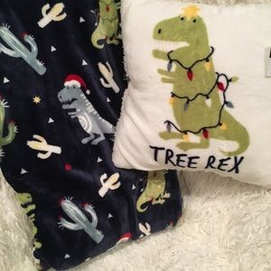 Christmas Dinosaur Cactus Throw Blanket and Pillow